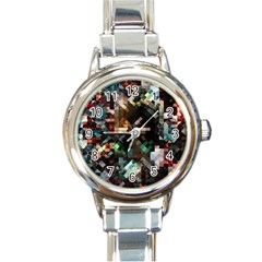 Abstract Texture Desktop Round Italian Charm Watch by HermanTelo