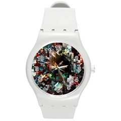 Abstract Texture Desktop Round Plastic Sport Watch (m)