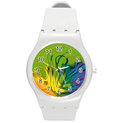 Abstract Pattern Lines Wave Round Plastic Sport Watch (m) by HermanTelo
