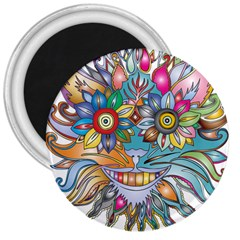 Anthropomorphic Flower Floral Plant 3  Magnets
