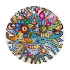 Anthropomorphic Flower Floral Plant Round Ornament (two Sides) by HermanTelo