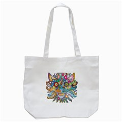 Anthropomorphic Flower Floral Plant Tote Bag (white)