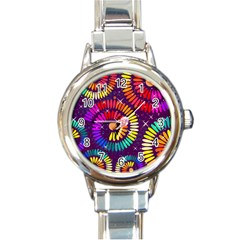 Abstract Background Spiral Colorful Round Italian Charm Watch