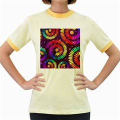Abstract Background Spiral Colorful Women s Fitted Ringer T-shirt by HermanTelo