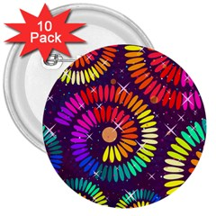 Abstract Background Spiral Colorful 3  Buttons (10 Pack)  by HermanTelo