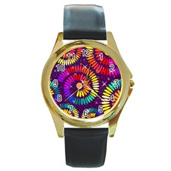 Abstract Background Spiral Colorful Round Gold Metal Watch by HermanTelo