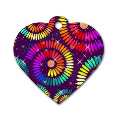 Abstract Background Spiral Colorful Dog Tag Heart (one Side)