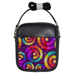 Abstract Background Spiral Colorful Girls Sling Bag