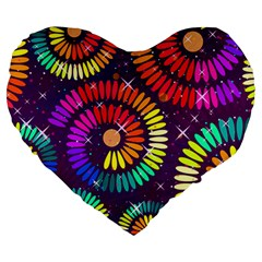 Abstract Background Spiral Colorful Large 19  Premium Heart Shape Cushions