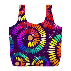 Abstract Background Spiral Colorful Full Print Recycle Bag (l)