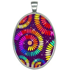 Abstract Background Spiral Colorful Oval Necklace
