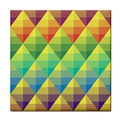 Background Colorful Geometric Triangle Tile Coasters by HermanTelo