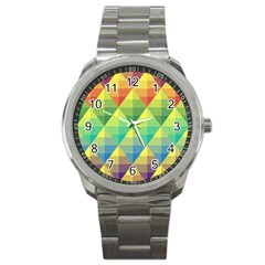 Background Colorful Geometric Triangle Sport Metal Watch by HermanTelo