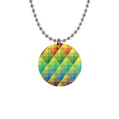 Background Colorful Geometric Triangle 1  Button Necklace