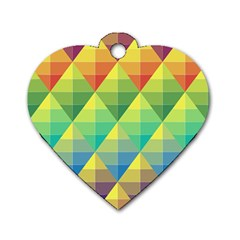 Background Colorful Geometric Triangle Dog Tag Heart (one Side) by HermanTelo