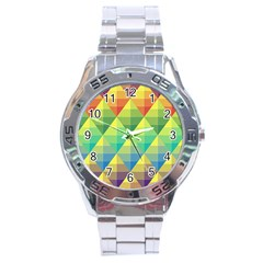 Background Colorful Geometric Triangle Stainless Steel Analogue Watch by HermanTelo
