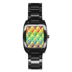 Background Colorful Geometric Triangle Stainless Steel Barrel Watch by HermanTelo