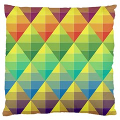 Background Colorful Geometric Triangle Large Flano Cushion Case (two Sides) by HermanTelo