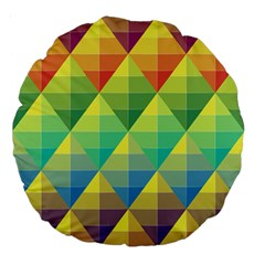 Background Colorful Geometric Triangle Large 18  Premium Flano Round Cushions by HermanTelo