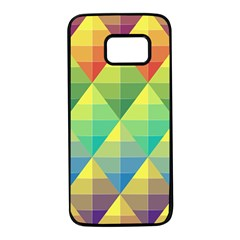 Background Colorful Geometric Triangle Samsung Galaxy S7 Black Seamless Case by HermanTelo