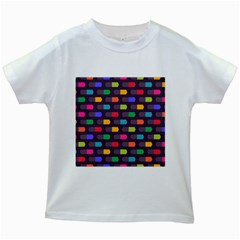 Background Colorful Geometric Kids White T Shirts by HermanTelo