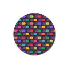 Background Colorful Geometric Magnet 3  (round) by HermanTelo