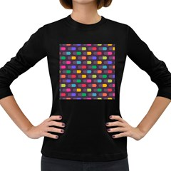 Background Colorful Geometric Women s Long Sleeve Dark T-shirt by HermanTelo