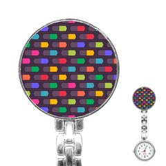 Background Colorful Geometric Stainless Steel Nurses Watch by HermanTelo