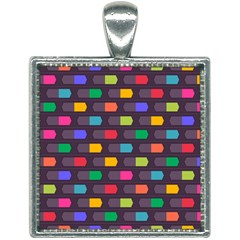 Background Colorful Geometric Square Necklace by HermanTelo