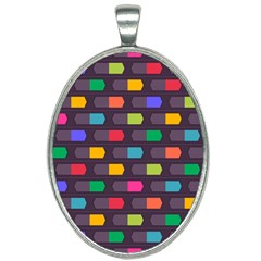 Background Colorful Geometric Oval Necklace by HermanTelo