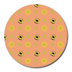 Bee Bug Nature Wallpaper Round Mousepads