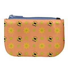 Bee Bug Nature Wallpaper Large Coin Purse by HermanTelo