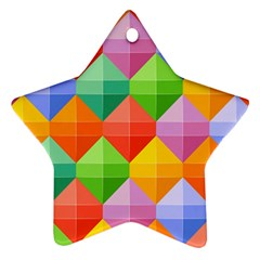 Background Colorful Geometric Triangle Rainbow Ornament (star) by HermanTelo