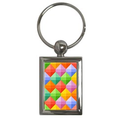 Background Colorful Geometric Triangle Rainbow Key Chains (rectangle)  by HermanTelo