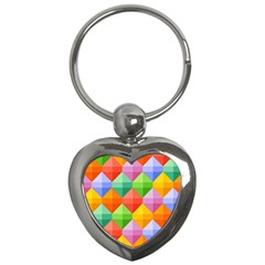 Background Colorful Geometric Triangle Rainbow Key Chains (heart)  by HermanTelo