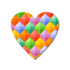 Background Colorful Geometric Triangle Rainbow Heart Magnet by HermanTelo