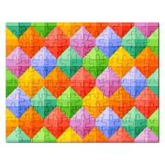 Background Colorful Geometric Triangle Rainbow Rectangular Jigsaw Puzzl by HermanTelo