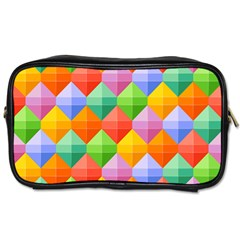 Background Colorful Geometric Triangle Rainbow Toiletries Bag (one Side) by HermanTelo