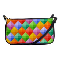 Background Colorful Geometric Triangle Rainbow Shoulder Clutch Bag by HermanTelo
