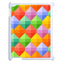 Background Colorful Geometric Triangle Rainbow Apple Ipad 2 Case (white) by HermanTelo