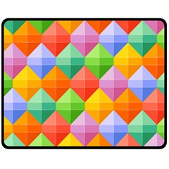 Background Colorful Geometric Triangle Rainbow Double Sided Fleece Blanket (medium)  by HermanTelo