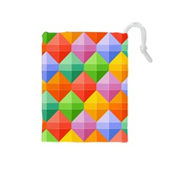 Background Colorful Geometric Triangle Rainbow Drawstring Pouch (medium) by HermanTelo