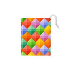 Background Colorful Geometric Triangle Rainbow Drawstring Pouch (xs) by HermanTelo