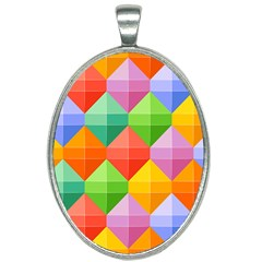Background Colorful Geometric Triangle Rainbow Oval Necklace by HermanTelo