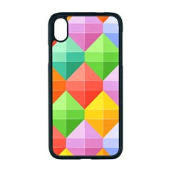 Background Colorful Geometric Triangle Rainbow Iphone Xr Seamless Case (black)