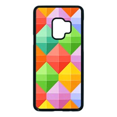 Background Colorful Geometric Triangle Rainbow Samsung Galaxy S9 Seamless Case(black)