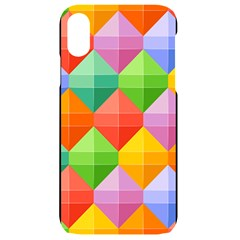 Background Colorful Geometric Triangle Rainbow Iphone Xr Black Uv Print Case by HermanTelo