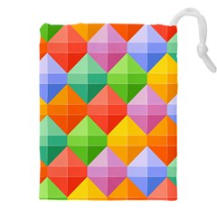 Background Colorful Geometric Triangle Rainbow Drawstring Pouch (xxxl) by HermanTelo