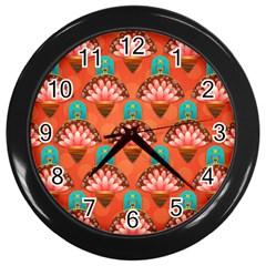 Background Floral Pattern Red Wall Clock (black) by HermanTelo