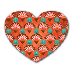 Background Floral Pattern Red Heart Mousepads by HermanTelo